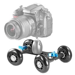Wholesale Track Dolly For Dslr - Tabletop Mobile Rolling Slider Dolly Car Skater Video Track Rail for Speedlite DSLR Camera Camcorder Rig Black Free Shipping