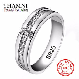 Wholesale Cross Diamond Ring - YHAMNI Real Pure Silver Cross Rings Set CZ Diamond Engagement Rings for Lovers Couple 925 Silver Wedding Rings For Women and Men D11