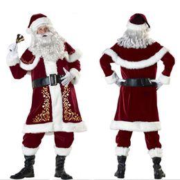 Wholesale Mascot Clothes - Mascot clothing Adult Men's Deluxe Santa Claus Christmas Costumes Santa Uniform Xmas Costume ( gloves + shawl+hat+clothes+belt+Foot cover)