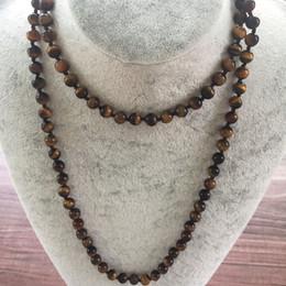 Naturstein 8 MM Gelb Tigerauge Halskette Handgeknüpfte Halskette Lange Halsketten 42 zoll Yoga Mala Perlen Endlose Unendlichkeit Perlen von Fabrikanten