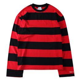 Wholesale Kpop Fashion Men - TOP hipster streetwear kpop hip hop vetements Men women long sleeve oversized t shirt hip hop brand red black stripe cotton tee