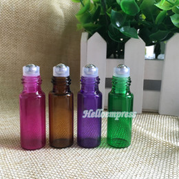Wholesale Purple Rolls - Wholesale Thick 5ml Red  AMBER  Purple  Green Empty Roll on Glass Bottle for Essential Oil Bottle METAL Roller Ball 600PCS LOT Free DHL