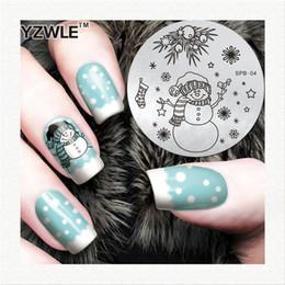 2020 arte da flor do prego da flor Atacado-YZWLE Flower Christmas Vintage Padrão Stamping Nail Art Image Plate 5.6cm modelo de aço inoxidável polonês Manicure Stencil Tool arte da flor do prego da flor barato