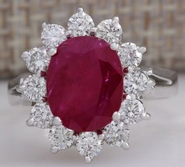 Wholesale Natural Diamonds Ring - 4.03CTW NATURAL RED RUBY DIAMOND RING 14K SOLID WHITE GOLD