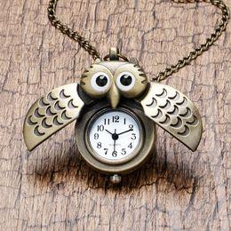 Wholesale Pocket Watch Vintage Owl - Wholesale-Cartoon Cute Bronze Vintage Night Owl Necklace Pendant Quartz Pocket Watch Necklace P27
