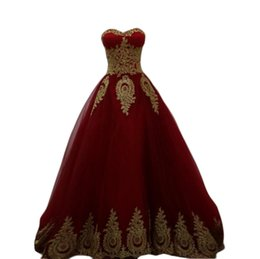 Wholesale Crystal Ball Wine - 2017 Gold Lace Appliques Wine Red Prom Dresses Princess Ball Gown Sweetheart Long Burgundy Evening quinceanera Dress Vestido de festa Longo