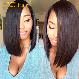 Wholesale Human Hair Middle Part Wigs - JYZ Brazilian lace front Wigs Glueless Human Hair Full Lave Wigs Bob Wig Middle Part Short Bob With Baby Hair For Black Women