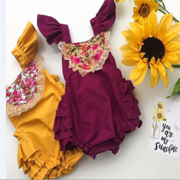 Wholesale Christmas Bloomers Wholesale - 2017 INS baby girl toddler Summer clothes clothing Lace Ruffles Rose Floral Romper Jumpsuits Diaper covers Bloomers L001