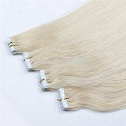 Wholesale Thick Tape Hair Extensions - Wholesale- White Platinum Blonde Skin Weft Hair European Beauty Thick 7A Unprocessed Virgin Brazilian Remy Tape In Hair Extensions 10-30""