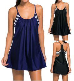 Wholesale Plus Size Black Tops - Sexy Women One Piece Stripe Print Sports Swimsuits ContrastColor Tankini Top Swim Dress Layered Plus Size Bathing suits Swimwear