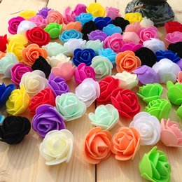 Wholesale Pompoms Decorations - 3.5CM PE Foam Rose Artificial Flowers For Wedding Car Decoration DIY Pompom Wreath Decorative Valentine's day