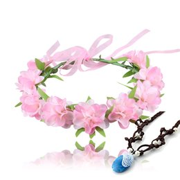 Wholesale Baby Wreaths - 2017 Moana Necklace and Flower Headwear baby Princess wreath Halloween Flowers Garland Moana Cosplay Accessories 6 Colors