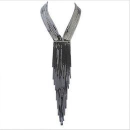 Wholesale White False Collar - New Women's Fashion V type Tassel Necklace European Style Necklace Atmospheric False Collar Jewelry Wholesale Free Shipping