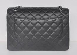 Wholesale Plain Maxi Dresses - wholesale Price Large size Classial 33CM Maxi Quilted Chain Black Genuine Lambskin Leather Double Flaps Fashion Shoulder Chain Bag Gold   Si