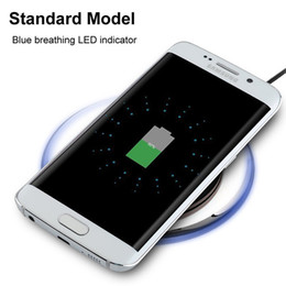 Wholesale qi wireless charger pad black - Universal Qi Wireless Charger pad White Black Crystal Led light Wireless charger for samsung s3 s4 s6 s7 edge for iphone 5 6 7