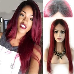 two tone brazilian hair red Promo Codes - 1b Red 99j Two Tone Ombre Full Lace Human Hair Wigs Brazilian Straight Middle Part Lace Front Wig Glueless Ombre Full Lace Wigs