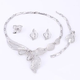 Wholesale Costume Big Necklace Sets - Silver Plated Fashion Jewelry Sets African Jewelry Sets African Costume Big Jewelry Set Women Wedding Party Necklace