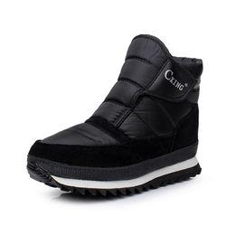 Wholesale Thick Warm Half Slips - Wholesale-Men boots 2016 Winter Thick Cotton warm Snow boots Men Fashion Black slip on Shoes Men Plus size 39-46 male ankle boots