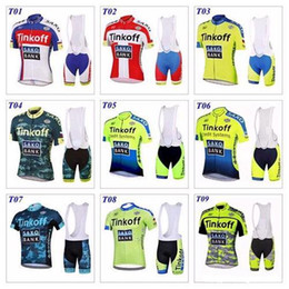 Wholesale Saxo Shorts - 2017 Tour De France Team Cycling Jersey Short Sleeve Sets Tinkoff Saxo Bank Nine Style Bicycle Wear Cycling Bib Shorts Ropa Ciclismo G0306