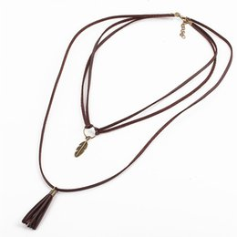 Wholesale Multi Layer Long Necklaces - Vintage Steampunk Choker colar Women Long Brown Faux Leather Multi Layer Rope Necklace Leaf Tassel Fringe Pendants Necklaces