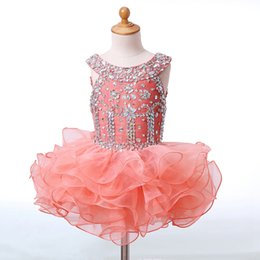 Wholesale Short Ball Gowns For Prom - Crystals Flower Girls Dresses for Wedding Kids Pageant Dress First Communion Dresses for Little Baby Cupcake Party Prom Dress 2018