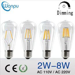 Wholesale Glass Bulb Shell - ST64 Vintage Edison Led Bulb E27 B22 2W 4W 6W 8W AC220V   110V Transparent Clear Glass Shell Retro LED Filament Light