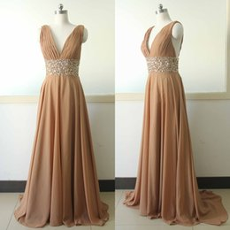 Wholesale Sexy Waistline - V-Neck Chiffon Brown Evening Dresses 2017 Pleated Beaded Waistline Sweep Train Backless Formal Elegant Evening Gowns Custom Plus Size Gowns