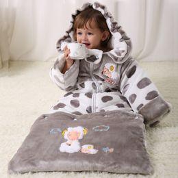 Wholesale Sheep Hoodie - Flannel Newborn Sleepsacks Fleece Thick Baby Blankets Dot Sheep Infant Robes Hoodies Boys Envelope Sleep sack Girls Sleeping Bag