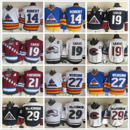 Wholesale Peter Forsberg - Throwback Colorado Avalanche 19 Joe Sakic 14 Rene Robert 21 Peter Forsberg 27 Andreas Martinsen 29 red white blue NHL Ice Hockey Jerseys