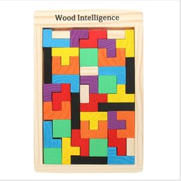 Wholesale Tetris Puzzle - Hot! Children Wooden Puzzles Toy Tangram Brain Teaser Puzzle Toys Tetris Game Educational Kid Jigsaw Board Toy Gifts