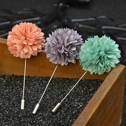 Wholesale bloom party - elegant flower brooch lapel pins Blooming Dahlia handmade boutonniere stick for men retro Court style brooches jewelry