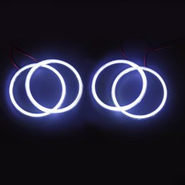 Wholesale Halo Ring E46 - 4 Pcs Halo Rings Angel Eyes car Headlight COB For BMW 3 Series E46 2D 105mm With Lampshades DRL White Daytime Running Light