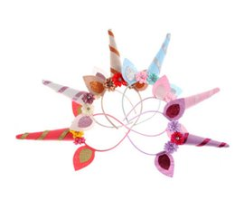 Wholesale White Cosplay Ears - Glitter cat ear Hairbands girls Stereo flowers Unicorn cosplay headbands children hair Stick christmas Kids Birthday party accessories R0734