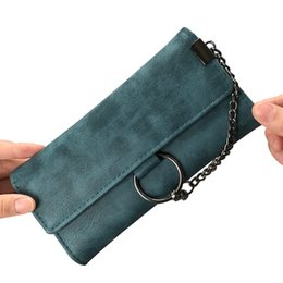 Wholesale Long Chain Handbags - Lady Purses Coin Purse Pocket Vintage Matte Leather Chain Style Clutch Women Wallet Bags Cards ID Holder Handbags Hasp Moneybags