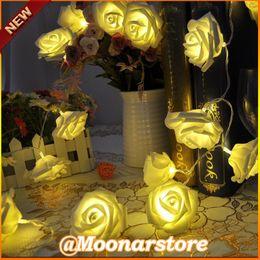 Wholesale Led Fairy Lights Flowers - Wholesale- Romantic Holiday Lighting 20 x LED Novelty Rose Flower Fairy String Lights Wedding Garden Party Christmas Decoration