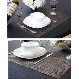 2019 mesas para mesas ao atacado Atacado-PVC Weave Placemats esteira de tabela, conjunto de 4, duas cores disponíveis, utensílios de mesa de cozinha Flaxen frete grátis mesas para mesas ao atacado barato