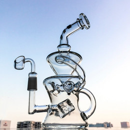 Wholesale Hookah Sets - Half Fab Egg Shape Smoking Water Bong Pipe With Swiss Cube Perc 14.5mm Joint New Set Recycler Glass Hookahs Banger DGC1287-1