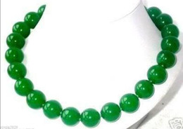 Wholesale 12mm rope chain - charming Natural Green Jade 12mm Round Beads Necklace 18inch