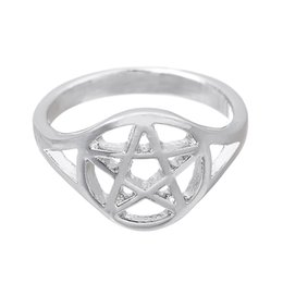Wholesale Cute Beautiful Ring - Alloy Rings Fashion Women Brief Vintage Quality Rhinestone Antique Silver Plated Five-point Star Alloy Finger Rings Beautiful Cute Mens Ring
