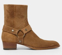 Wholesale Classic Western Boots - 2017 Man Fashion Slp Classic Wyatt 40 Harness Boots In Camel Suede Men Shoes