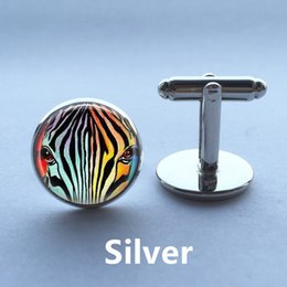 Wholesale Rainbow Cuff - Zebra Cufflinks Zebra Jewelry Rainbow Round Jewelry Cuff Links Glass Cabochon Cufflink Christmas Gift