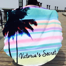 Wholesale Hair Dryer Hand - 160cm Round beach towel Hawaii style dimension napkin soft quick dry large striped cotton beach towel 0.68kg