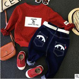 Wholesale Outfit Children Jeans - Boys outfits children letter printed lace jacquard sweatshirt+hole jeans 2pcs sets christmas kids clothing autumn boy leisure suits T0519
