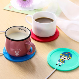 Wholesale Hot Cup Usb - USB Cup Pad Warmer Heater Cartoon Silicone Heater for Milk Tea Coffee Mug Hot Drinks Beverage Cup Mat Pad 5V 3.75W