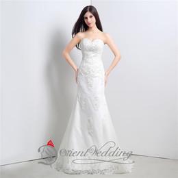 2015 Em Stock 100% Real Fotos Branco querido bordado lantejoulas Satin Mermaid Lace-up vestidos de casamento Tribunal Trem Vestido nupcial de