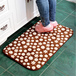 Wholesale Pattern Bath Rugs - Wholesale- Newest Lowest Price Brown Sunflower Pattern Floor Bath Mats Set Non Slip Bathroom Toliet Rugs 50*80cm Water Absorption Carpet