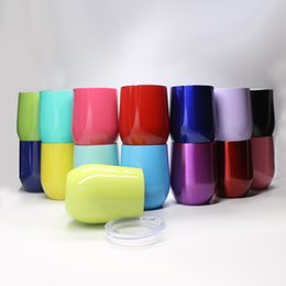 Wholesale Wholesale Fusing Glass - Eggshell shape Stemless Wine Glass Mugs 9oz Vacuum cup 15 colors Stainless Steel Cups Wine cups With Lids Free Shipping