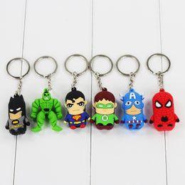 Wholesale Marvel Cartoon Characters - 30pcs lot The Avengers 3D PVC Marvel Superman Spiderman Green Hulk Keychain Pendant Figure Toy