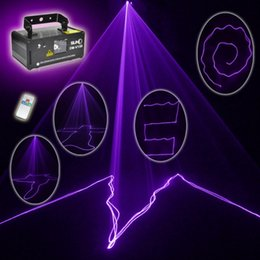 Wholesale Purple Party Light Laser - Wholesale- Free shipping MINI PRO IR Remote 8 CH DMX 150mW Purple Color Laser Scanner Lights DJ Party Bar Projector Stage Lighting V150