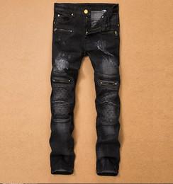 Wholesale Tr Jeans - Wholesale- TR Mens Denim Torn Jeans Slim Fit Stretch Pants Patchwork Ripped Zipper Pantalons Pour Hommes Mode Casual Pencil Trousers Plus S